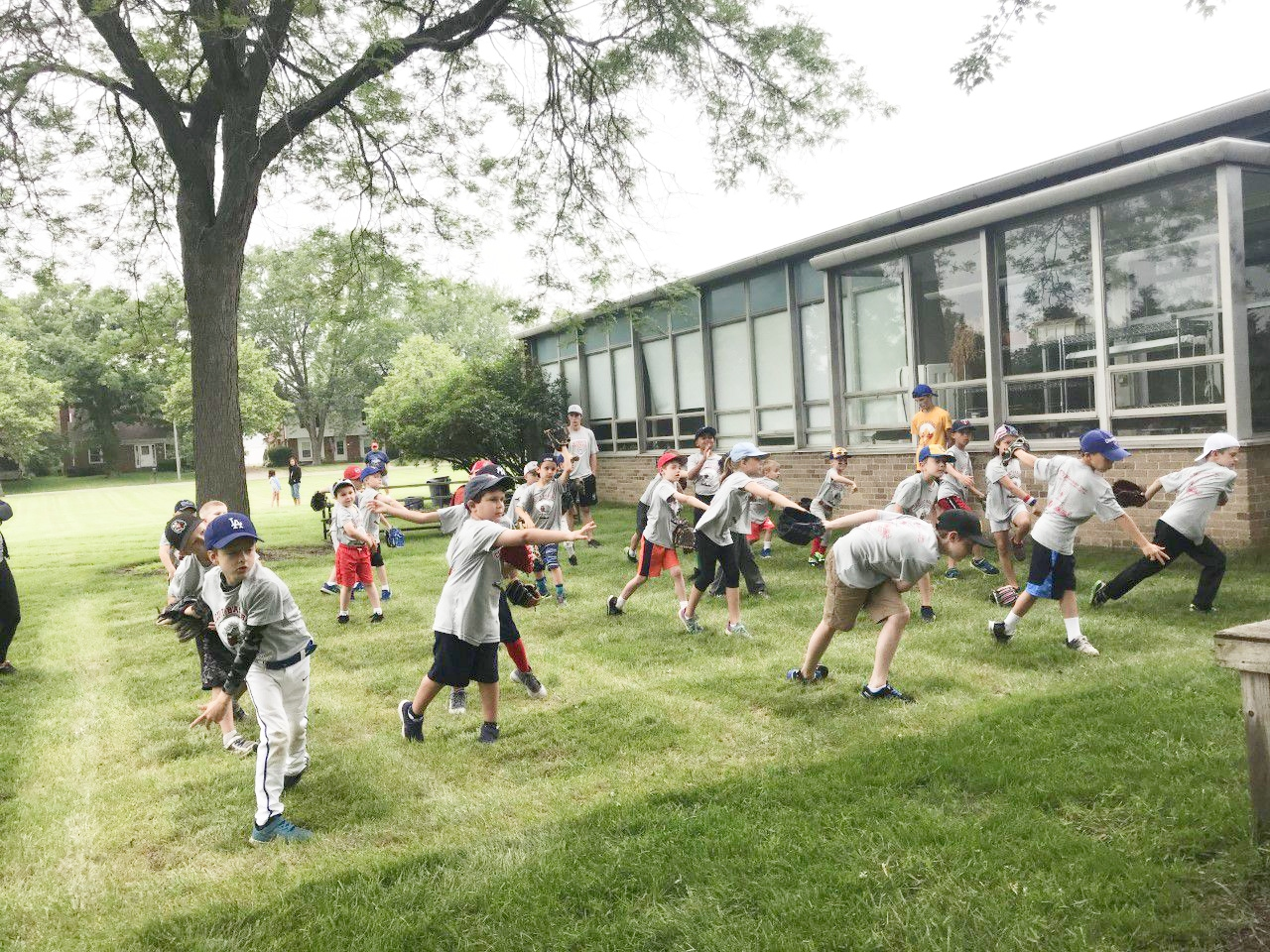 Group of players learning to throw